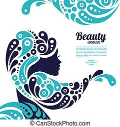 美しい女性, silhouette., 入れ墨, の, 抽象的, 女の子, hair., 海洋, デザイン