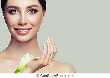 美しい女性, spa., 美しさ, flower., 若い, 顔, 女の子, 新たに, 待遇, 美顔術, 皮膚, きれいにしなさい, care., 白