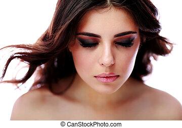美しい目, 女, 閉じられた, 上に, 背景, 肖像画, 白