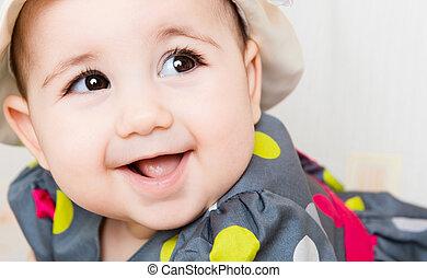 美しい赤ん坊, 女の子, クローズアップ, 肖像画