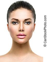 美しい額面, の, 若い女性, ∥で∥, きれいにしなさい, 新たに, 皮膚