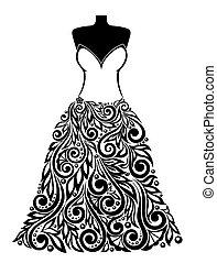 美しい, ありなさい, 使われた, シルエット, 装飾, 缶, 結婚式, 花のドレス, element., カード。