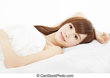 美しい, あること, 女, 若い, ベッド