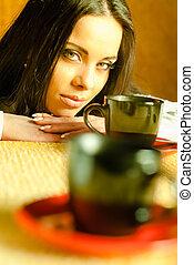 美しい, お茶, 女の子, カップ
