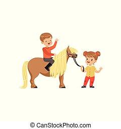 美しい, かわいい, わずかしか, ジョッキー, 子馬, childrens, モデル, 先導, 男の子, 馬, イラスト, 馬, ベクトル, 女の子, スポーツ, 添え金, 乗馬者
