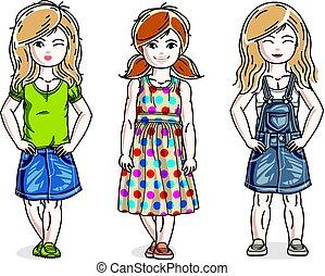 美しい, かわいい, わずかしか, セット, 女の子, clothes., 地位, 子供, 子供, ベクトル, 流行, 偶然, illustrations.
