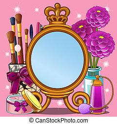 美しい, かわいい, スタイル, ∥あるいは∥, 映像, illustration., スペース, 写真フレーム, 構造, わずかしか, fashionista, 漫画, クローズアップ, ベクトル, テキスト, princess., あなたの, カード, 挨拶