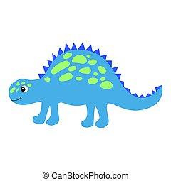 美しい, かわいい, スタイル, カラフルである, 幸せ, dino, 特徴, concept., dinosaur., 隔離された, 平ら, バックグラウンド。, vector., インターネット, 微笑, 白, design., 恐竜, 漫画, スタイル