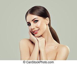 美しい, かわいい, 女, 健康, ゆとり, エステ, 若い, モデル, 皮膚, 肖像画, 女の子, smile., 微笑