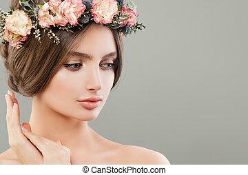 美しい, かわいい, 女, 夏, 顔, 花, portrait., エステ