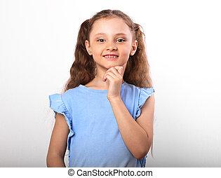 美しい, かわいい 女, 手, 見る, バックグラウンド。, クローズアップ, 子供, 下に, 肖像画, 白い額面, 幸せに微笑する