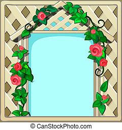 美しい, かわいい, 映像, ∥あるいは∥, illustration., 形態, スペース, 木製のフレーム, クローズアップ, 写真, 漫画, flowers., ベクトル, テキスト, 新たに, 飾られる, 編まれる, あなたの, カード, 挨拶