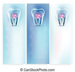 美しい, きれいにしなさい, 歯, 芸術的, 背景, 透明