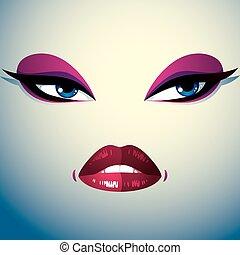美しい, こうかつ, 表現, 人々, 女性, 怒る, 若い, 顔, 明るい, 部分, メーキャップ, 美顔術, eyes., woman., 唇