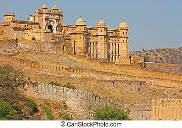 美しい, こはく色, 都市, jaipur, india., rajasthan, 城砦