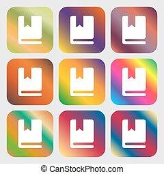 美しい, しおり, ボタン, 明るい, ベクトル, 9, icon., gradients, design.