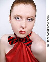 美しい, そばかす, 女の子, 服, 赤