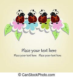 美しい, てんとう虫, カード