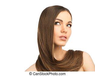 美しい, のまわり, 彼女, 若い, 長い髪, 女の子, 首
