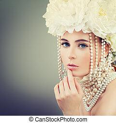 美しい, の上, ファッション, 宝石類, 春, 作りなさい, 花輪, 女性の 肖像画, 花