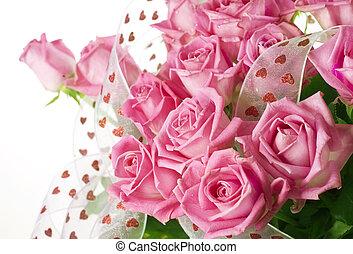 美しい, ばら, 花束