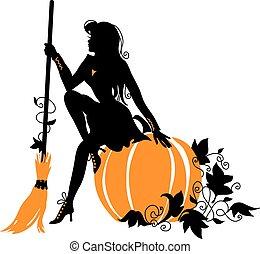 美しい, ほうき, 魔女, pumpkin.