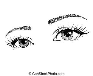 美しい, まつげ, 目, 女性, 長い間