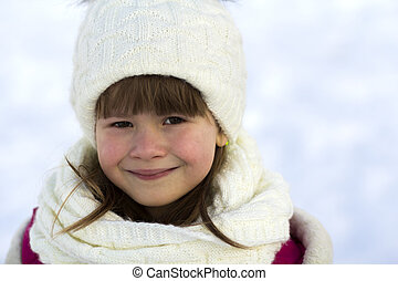 美しい, わずかしか, クローズアップ, 肖像画, 女の子の微笑