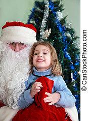 美しい, わずかしか, モデル, claus, 木, santa, 女の子, ひざ, クリスマス
