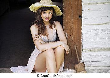 美しい, わら, ブルネット, 女, 帽子