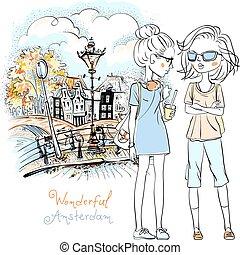 美しい, アムステルダム, ファッション, 女の子, ベクトル
