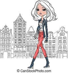 美しい, アムステルダム, 女の子, ファッション, ベクトル