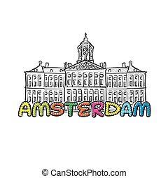 美しい, アムステルダム, sketched, アイコン