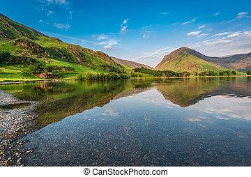 美しい, イギリス\, 地区, 湖, 湖, 日没