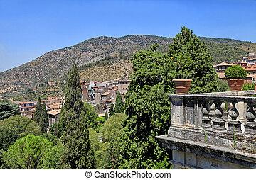 美しい, イタリア, トスカーナ, 村, 台地, 古い, 風景, 手すり