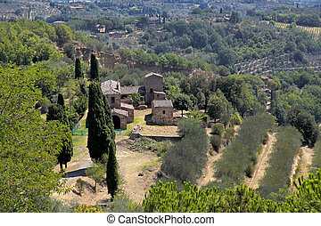 美しい, イタリア, 建物, 牧草地, 木, 古い, 風景, 光景