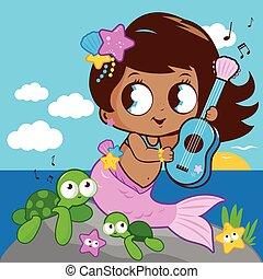 美しい, イラスト, ベクトル, 音楽, sea., 遊び, mermaid