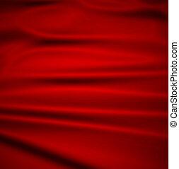 美しい, イラスト, 織物, 背景, ベクトル, 赤, silk., ひだのある布