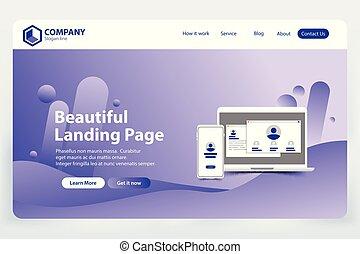 美しい, ウェブサイト, 概念, 着陸, ベクトル, デザイン, テンプレート, ページ