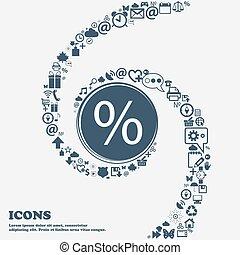 美しい, ウェブサイト, 現代, 印, シンボル, あなたの, design., 使用, パーセント, twisted, あなた, center., のまわり, 割引, インターフェイス, spiral., 多数, ボタン, separately, ベクトル, 缶, それぞれ, icon.