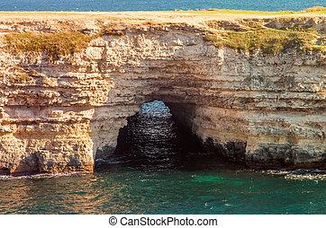 美しい, ウクライナ, 海, トンネル, 洞穴, tarhankut, crimea, 風景, 光景