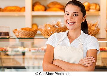 美しい, エプロン, 保持, 女, 愛, 店, 若い, 腕, パン屋, 地位, 間, job!, 交差させる, 私