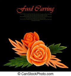 美しい, オレンジの花, 作られた, から, 果物と野菜