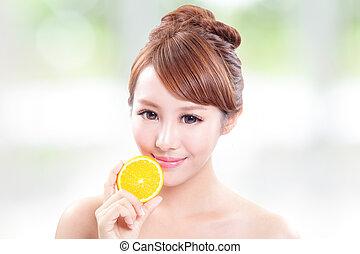 美しい, オレンジ, 女, 水分が多い, 顔