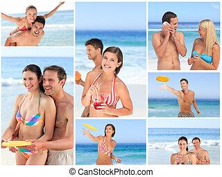 美しい, カップル, 楽しむ, コラージュ, 瞬間, 浜, 一緒に