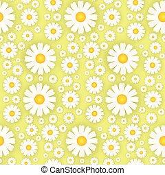 美しい, カモミール, 背景 パターン, 装飾, seamless, 黄色, テンプレート, 花, 白い花