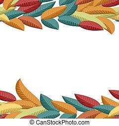 美しい, カラフルである, パターン, 葉, seamless, バックグラウンド。, 白