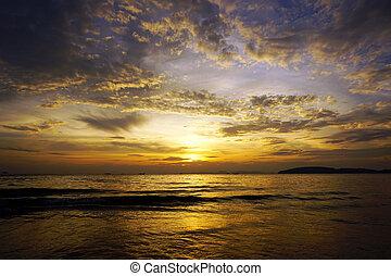 美しい, カラフルである, 劇的, 海, 日没