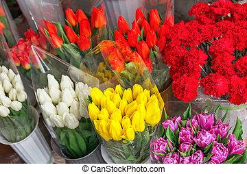 美しい, カラフルである, 春, 花束, 新鮮な花