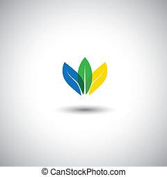 美しい, カラフルである, 葉, アイコン, 表すこと, 保存, -, ベクトル, graphic., これ, イラスト, また, 表す, 花弁, の, 花, 取り決められた, 一緒に, そして, 中に, 青, 緑, &, 黄色, 色, はす花
